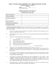 printable security guard employment contract security guard contract agreement template word