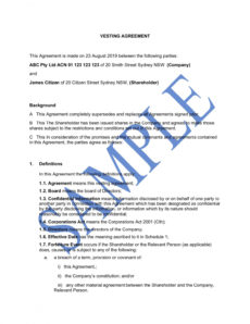 printable share vesting agreement  free template  sample  lawpath founder vesting agreement template