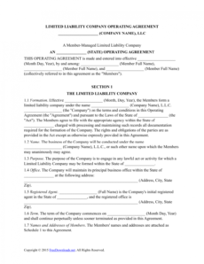 sample download multimember llc operating agreement template  pdf north carolina llc operating agreement template