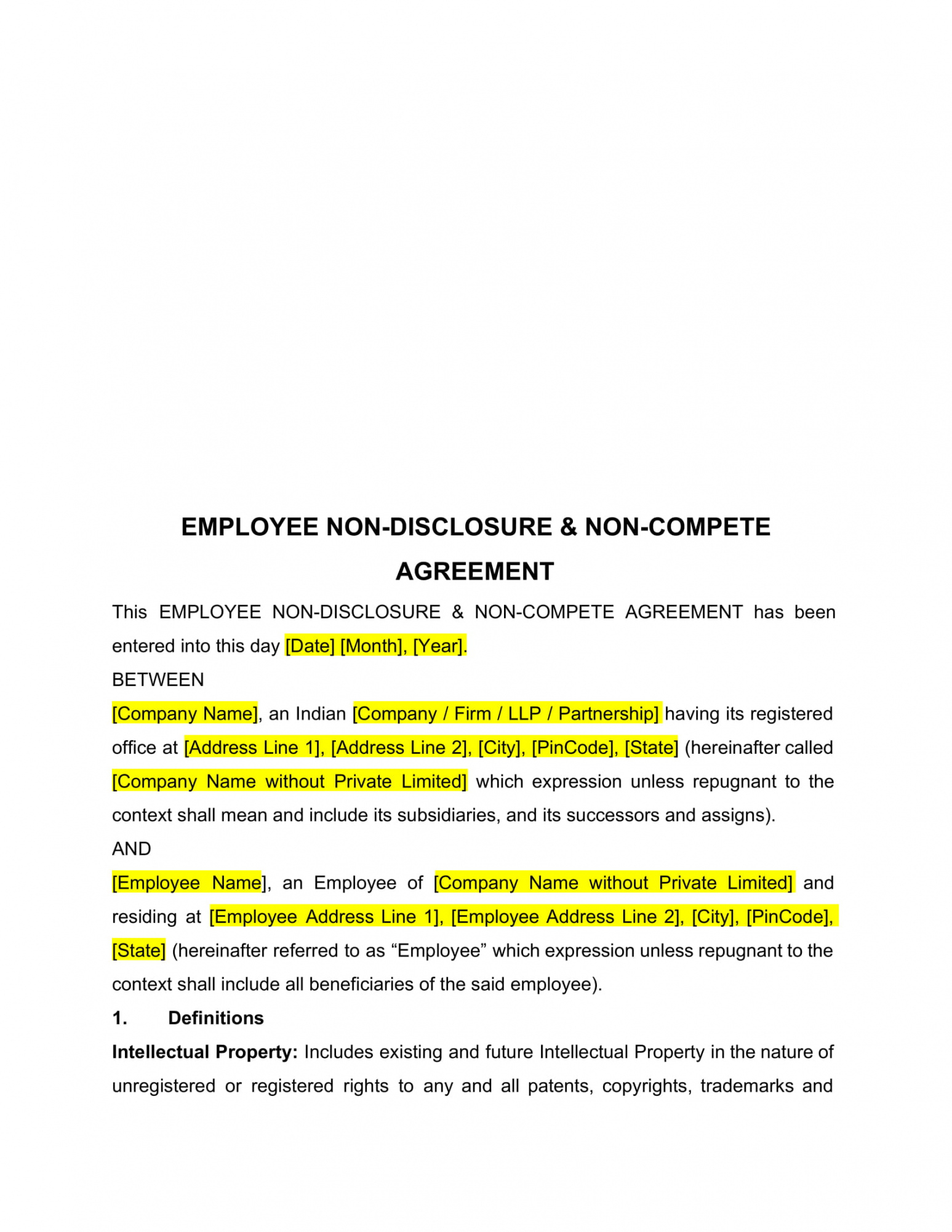 sample free 8 noncompetition agreement contract forms in pdf  ms partnership non compete agreement template