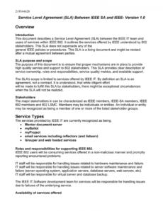 sample overview service level agreement sla between ieee sa and service level agreement template software excel