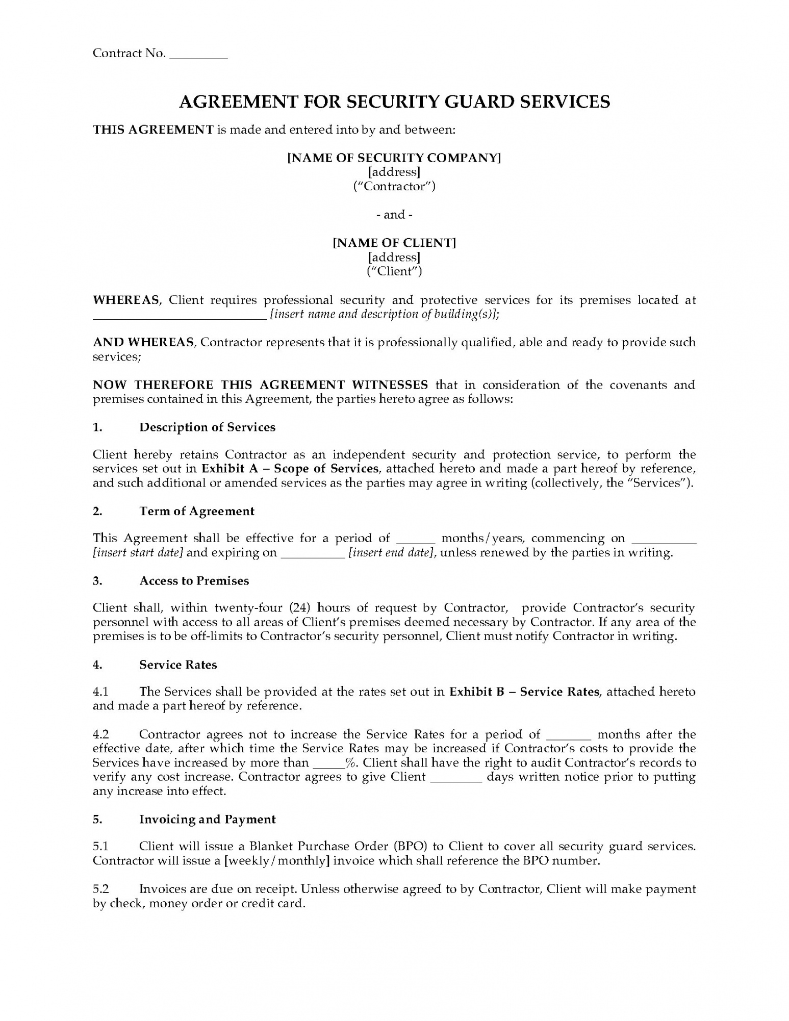 sample usa security guard services agreement security guard contract agreement template sample
