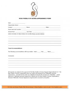 appearance formtracey charlie  issuu appearance agreement template doc