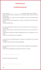 church confidentiality agreement  10 best samples form church volunteer agreement template word