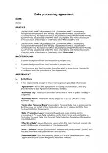 data processing agreement controllerprocessor  docular data processor agreement template gdpr excel