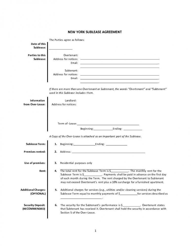 download free new york sublease agreement  printable lease sublease agreement template new york doc
