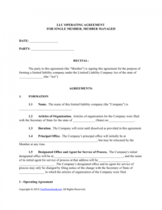 download single member llc operating agreement template operating agreement template doc pdf