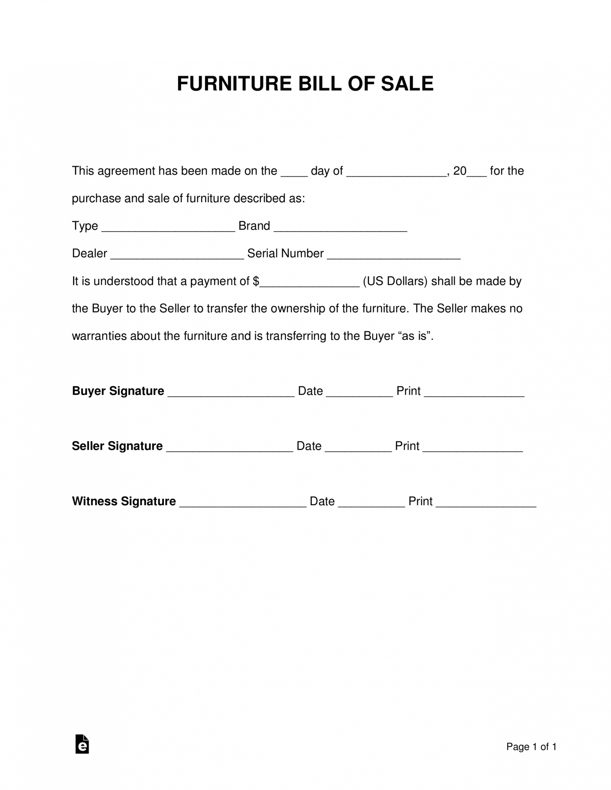 editable free furniture bill of sale form  pdf  word  eforms furniture purchase agreement template sample