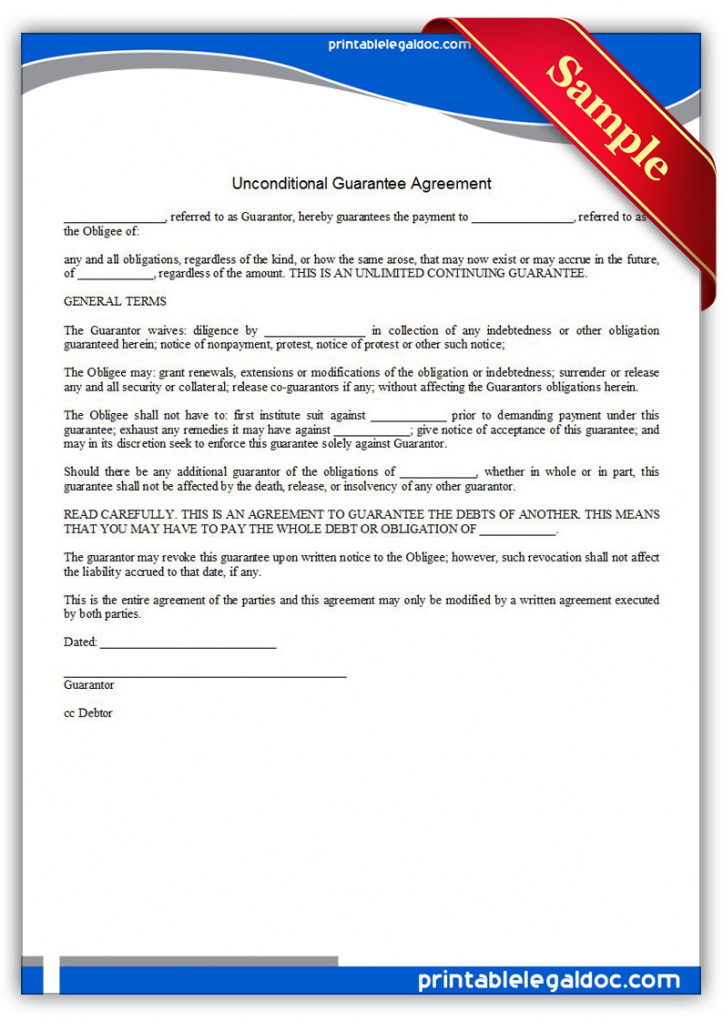 editable free printable unconditional guarantee agreement form generic guaranteed payment agreement template word