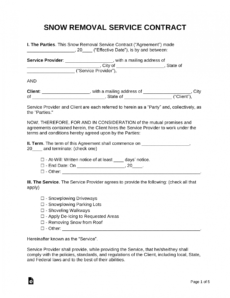 editable free snow removal contract template  samples  word  pdf snow removal agreement template sample