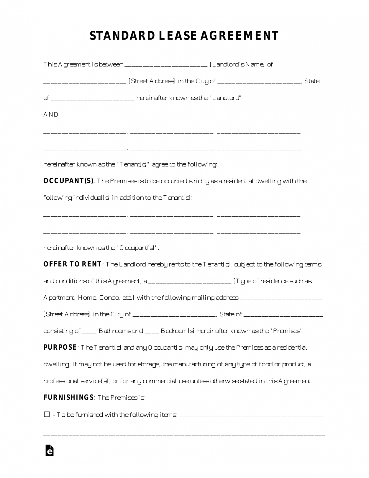 editable free standard residential lease agreement template  pdf standard residential lease agreement template doc