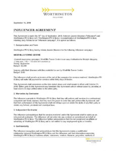 editable influencer contract template  influencer agreement template social media influencer agreement template excel
