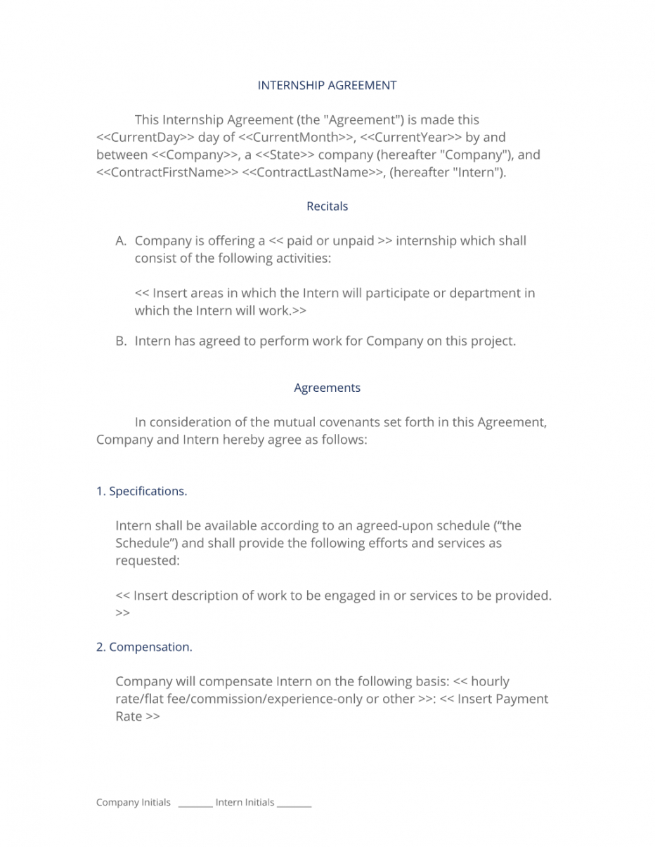 editable internship agreement nontechnical  3 easy steps unpaid internship agreement template pdf