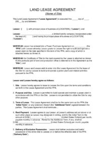 free download free land lease agreement  printable lease agreement land rental agreement template