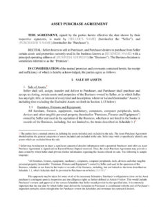 free free 5 asset purchase agreement contract forms in pdf  ms word furniture purchase agreement template example