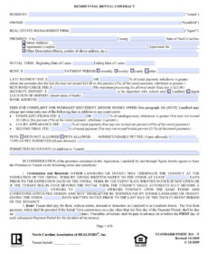 free free north carolina standard residential lease agreement rental agreement template nc word