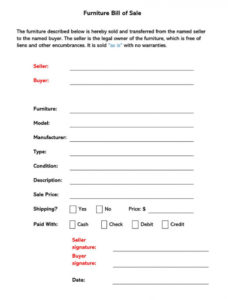 free furniture bill of sale form free forms & templates furniture purchase agreement template pdf