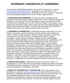 free intern nondisclosure agreement nda  pdf  word unpaid internship agreement template