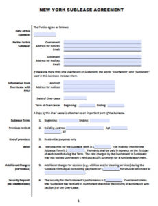 free new york sublease  roommate agreement template  pdf sublease agreement template new york excel