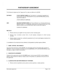free partnership agreement short form template businessina business partnership agreement template sample