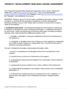 free product development nondisclosure agreement nda international nda agreement template
