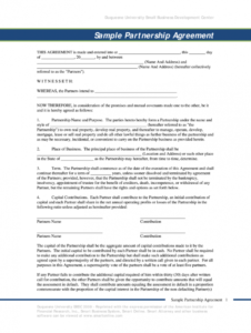 free small business partnership agreement doc  fill online operating agreement template doc excel