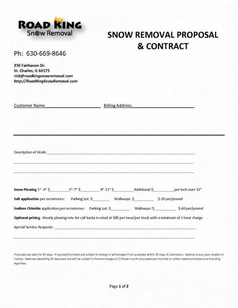 free snow removal contract templates ~ addictionary snow removal agreement template excel