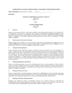free temporary staffing agreement general staffing agreement template example