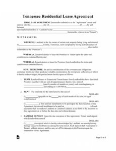 free tennessee standard residential lease agreement template rental agreement template tennessee excel
