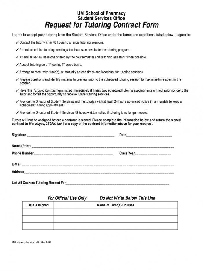 free tutoring contract  fill online printable fillable blank tutoring agreement template