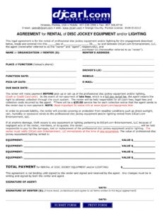 printable free 6 dj contract forms  dj agreement equipment rental music equipment rental agreement template word