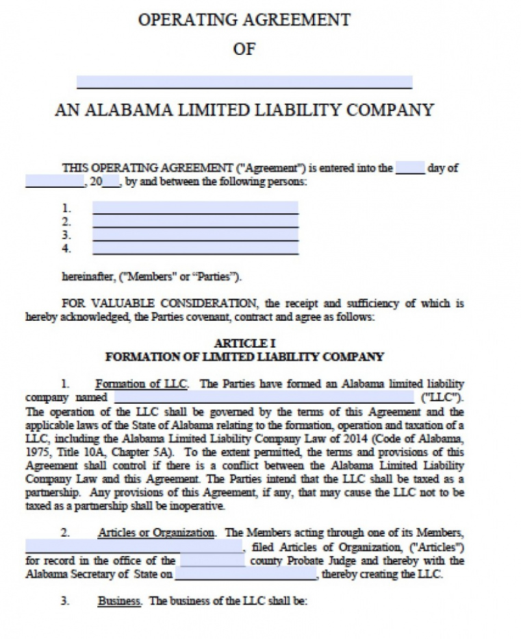 printable free alabama llc operating agreement template  pdf  word operating agreement template doc sample
