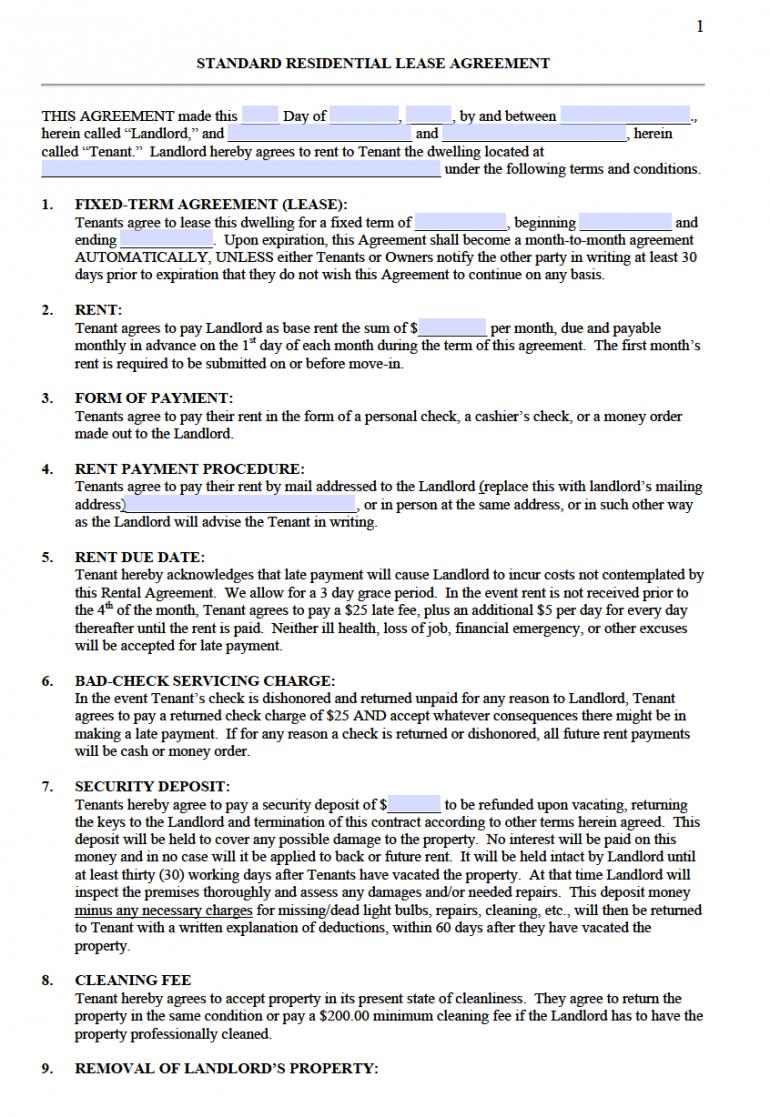 printable free standard residential lease agreement templates  pdf  word standard residential lease agreement template sample