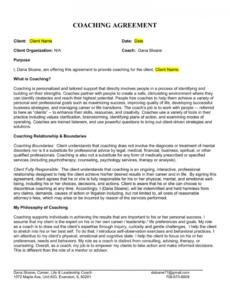 printable sample leadership coaching agreement executive coaching agreement template sample