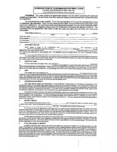 printable standard form of condominium lease agreement free download condo lease agreement template word