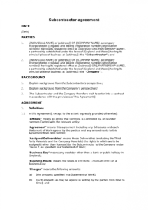 printable subcontractor framework agreement standard  docular framework agreement template doc