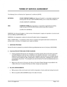 printable terms of service agreement template businessinabox™ service provider agreement template word