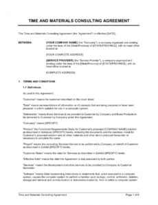printable time and materials consulting agreement template time and materials agreement template excel