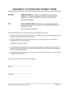 sample agreement to extend debt payment terms template payment terms agreement template word