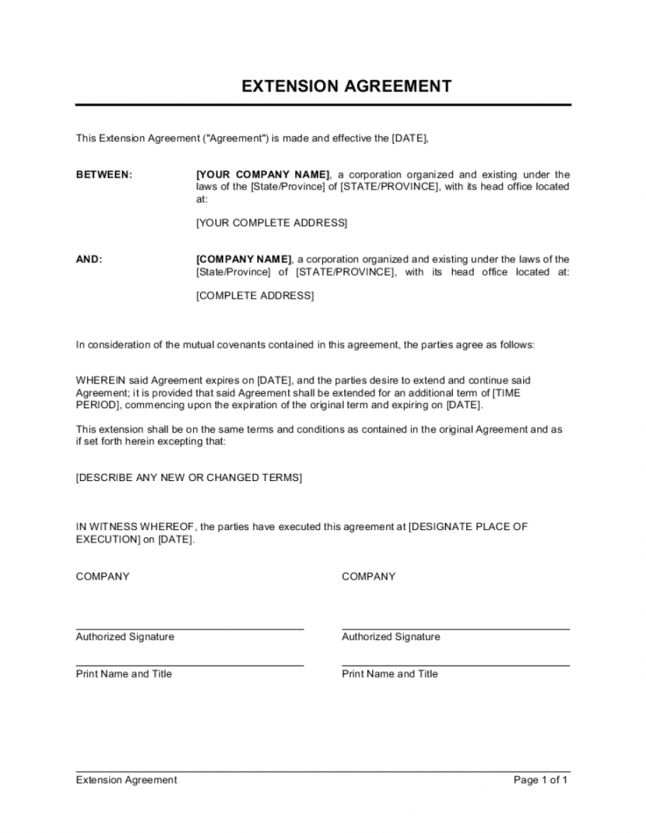 sample extension of agreement template businessinabox™ time and materials agreement template sample