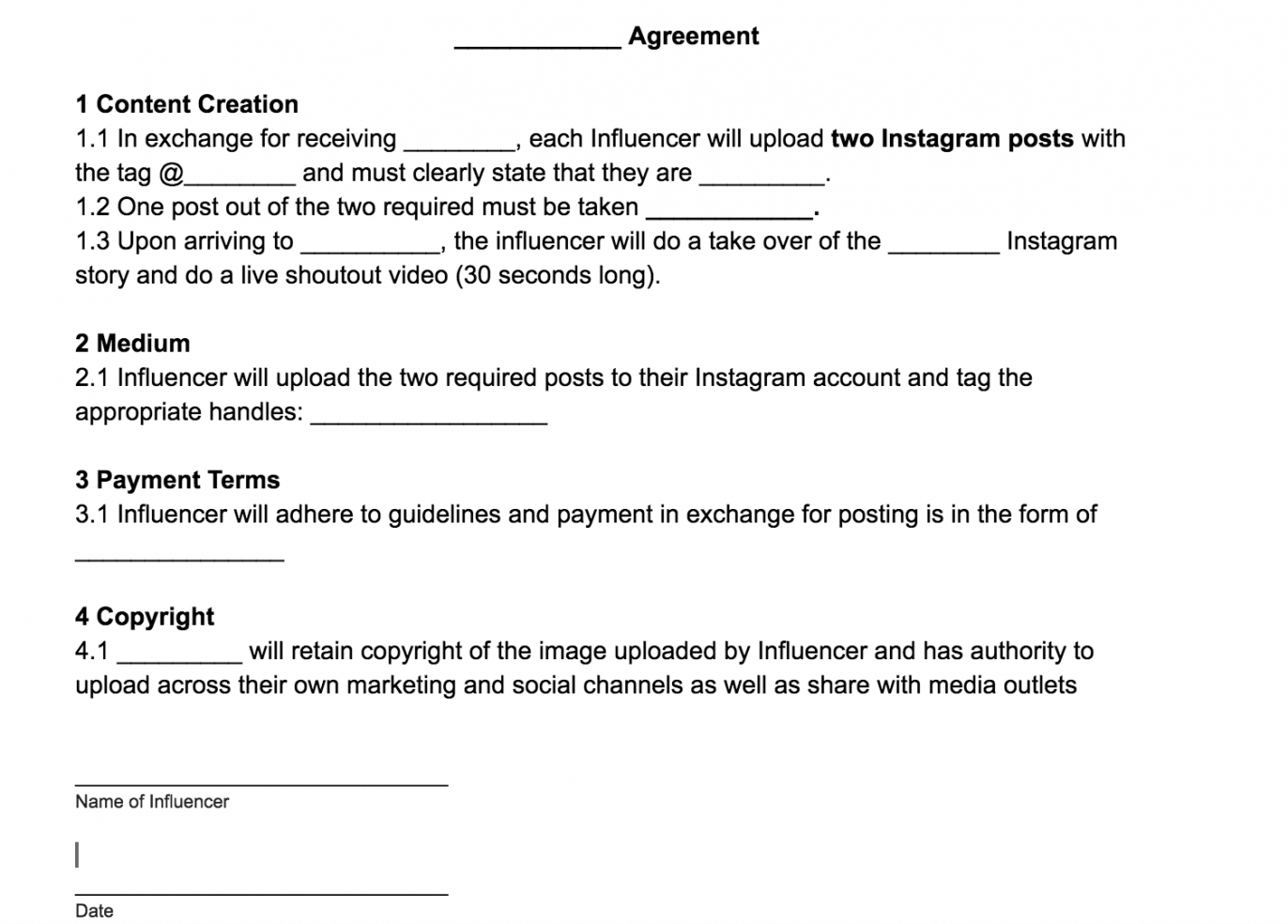 sample influencerblogger agreement template free download brand partnership agreement template pdf
