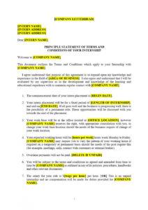 sample internship agreement template  approveme  free contract unpaid internship agreement template word
