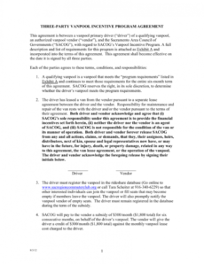 sample vanpool incentive 3party agreement three party agreement template sample