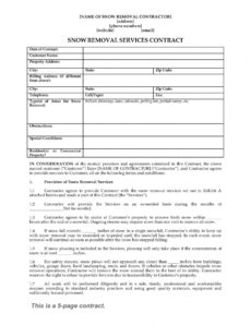 snow removal contract form snow removal agreement template sample