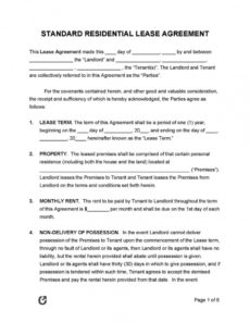template for lease agreement ~ addictionary standard residential lease agreement template example