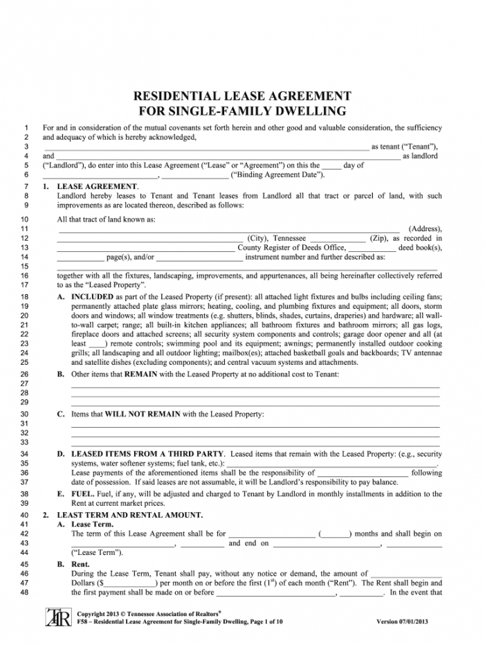 tennessee lease agreement  fill online printable fillable rental agreement template tennessee doc