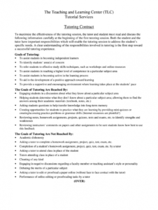 tutoring contract  fill online printable fillable blank tutoring agreement template example