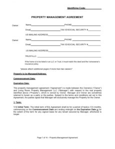42 simple property management agreements word  pdf ᐅ simple property management agreement template