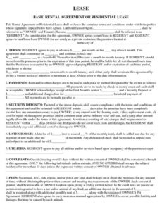editable free basic rental agreement or residential lease  pdf  docx apt lease agreement template example