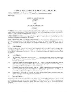 editable option agreement for rights to life story screenplay option agreement template word